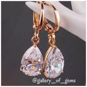 Last 1! White Sapphire 18K Gold Drop Earrings!
